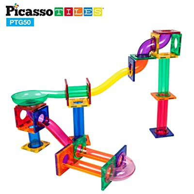 PicassoTiles Marble Run 50-Piece Magnetic Tile Race Track Toy Play Set | STEM Building & Learning, Educational Magnet Construction, Child Brain Development Kit | Boys Girls Age 3 4 5 6 7 8+ Years Old: Toys & Games