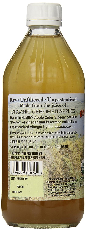 Dynamic Health - Vinagrera orgánica con texto en inglés