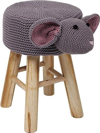 Kare Hocker Funny, 83288, Kleiner runder Sitzhocker, Grauer Flauschiger Bezug mit aufgenähtem Maus Gesicht, süßer Schemel für Kinderzimmer (HxBxT) 35