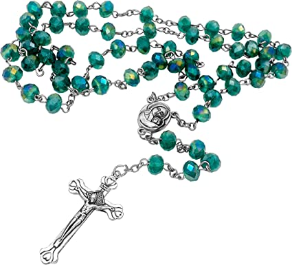 Nazareth Store Green Pearl Beads Rosary Catholic Necklace with Miraculous Medal Cross Crucifix Silver Tone Rosaries in Velvet Bag