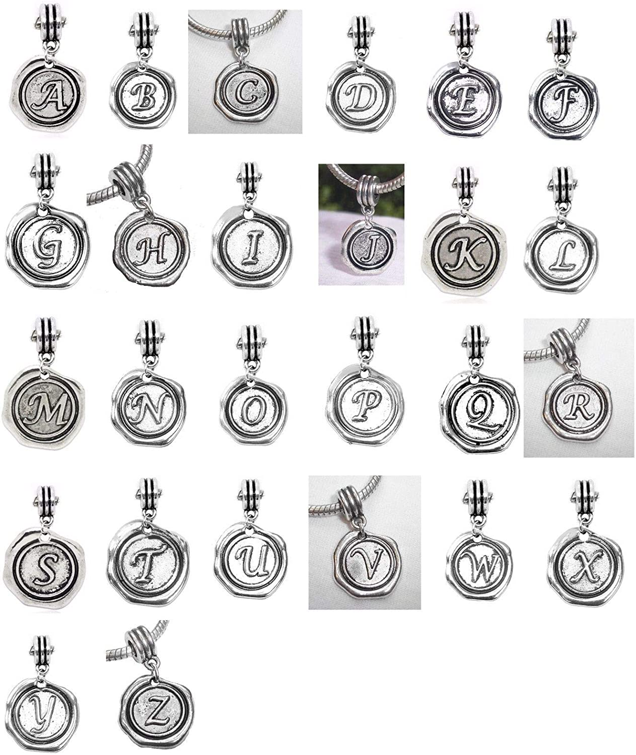 Alphabet Wax Stamp Letter Initial Dangle Charm for European Bead Slide Bracelets Fashion Jewelry for Women Man