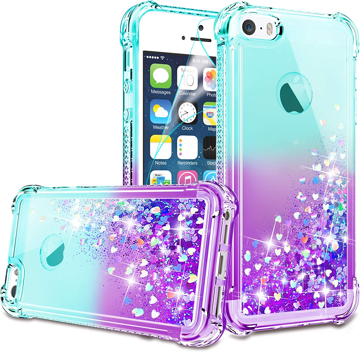 iPhone 5/iPhone 5S Case, iPhone SE Case with HD Screen Protector for Girls Women, Gritup Cute Clear Gradient Glitter Liquid TPU Slim Phone Case for Apple iPhone 5/5S/SE Teal/Purple