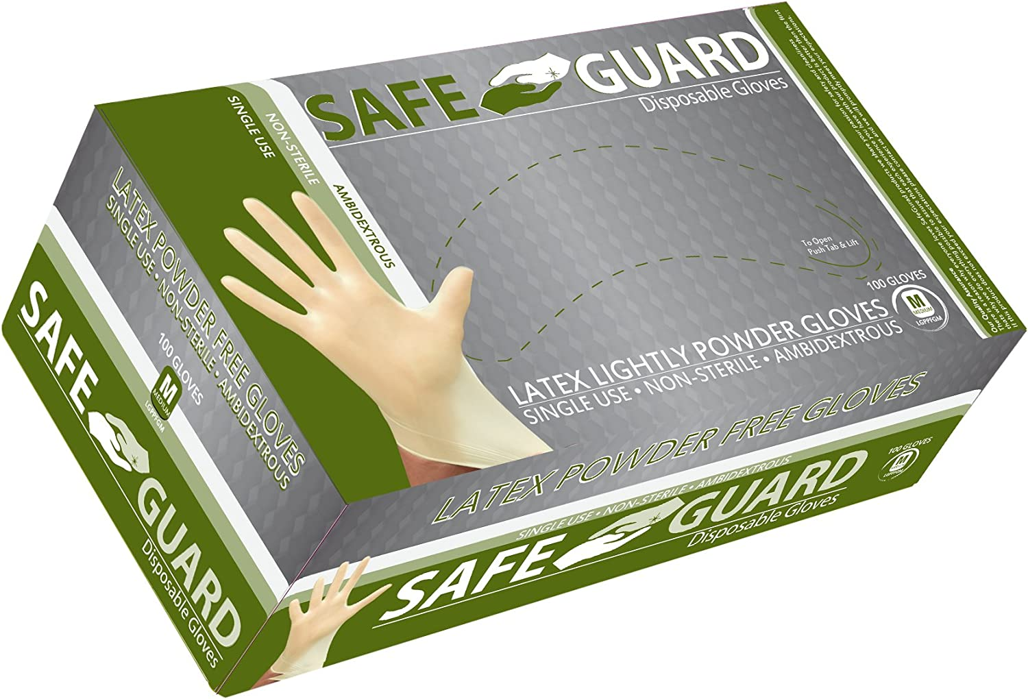 SAFEGUARD Latex Lightly Powdered Gloves