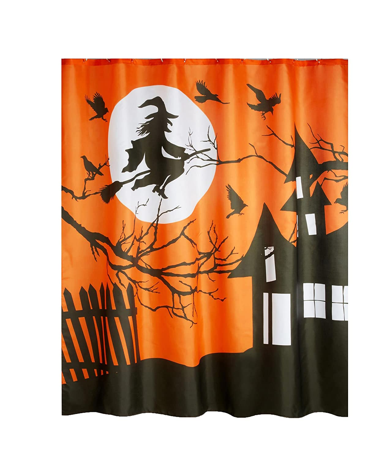 Avanti Linens Halloween Shower Curtain Flying Witch Haunted House Design Polyester Fabric
