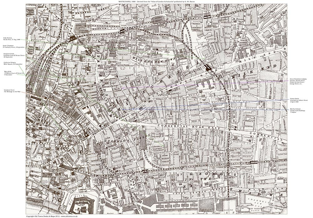 Jack The Ripper Locations Map Whitechapel London 1888: Whitechapel London Map At Infoasik.co
