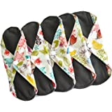 Heart Felt Reusable Cloth Menstrual Pads (5 Pack, Light Flow) with Charcoal Absorbency Layer, Washable Sanitary Napkins, Overnight Long Panty Liners (Floral Print)
