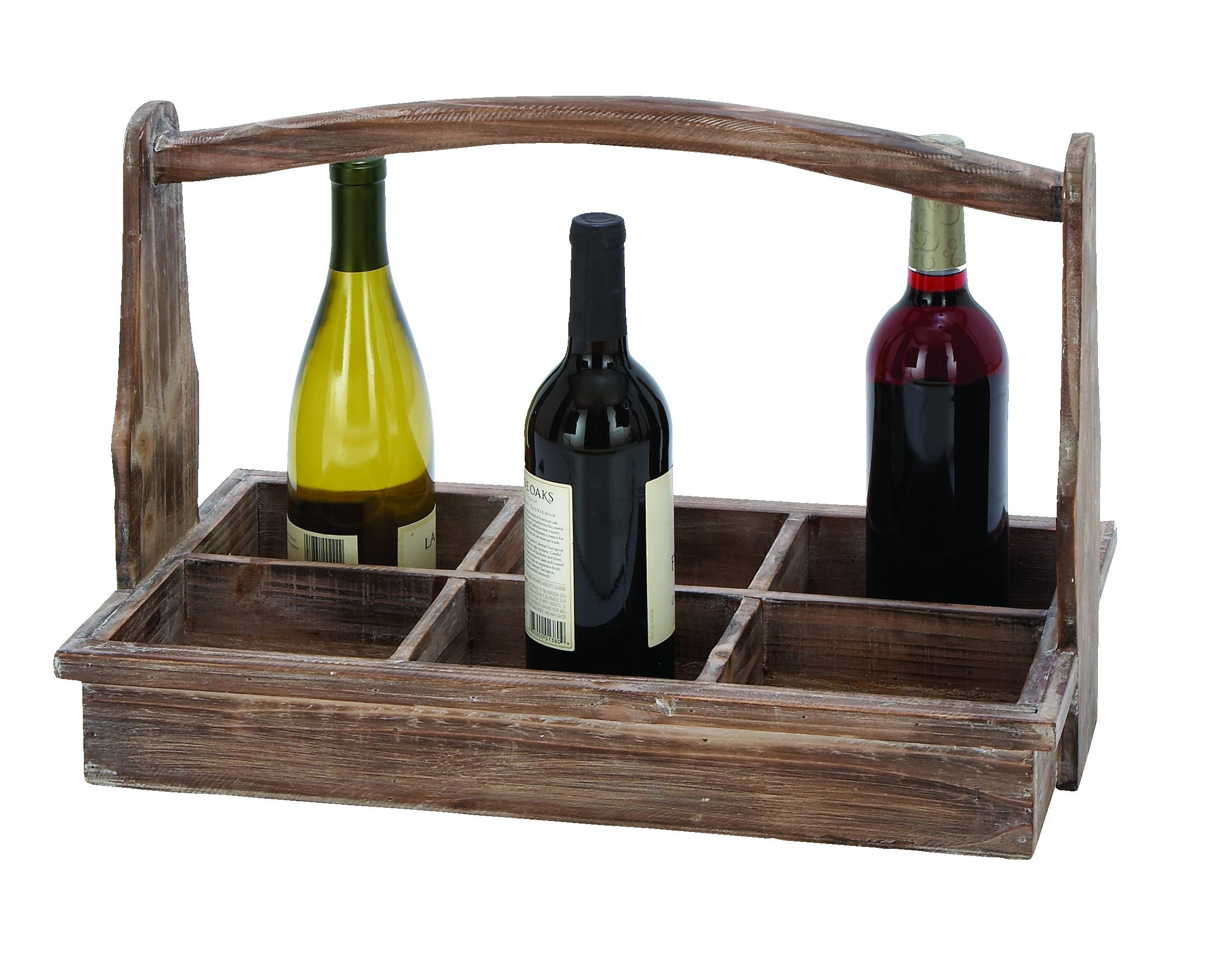 Deco 79 66788 Useful and Portable Wine Bottle Basket with Aged Wood