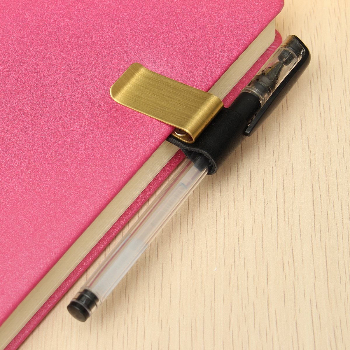 Gold RanDal Stainless Steel Leather Notebook Clip Metal Pen Holder Paper Folder