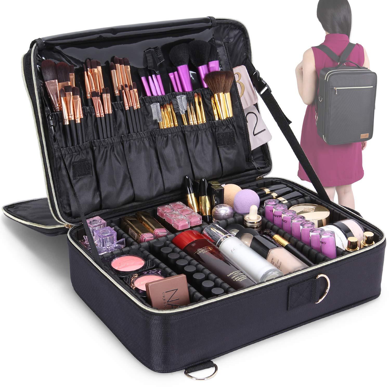 Lifewit Profesional Neceser Mujer Maquillaje Grande 3 Pisos Mochila para Mujer Estuche Bolso de Maquillaje Bolsa