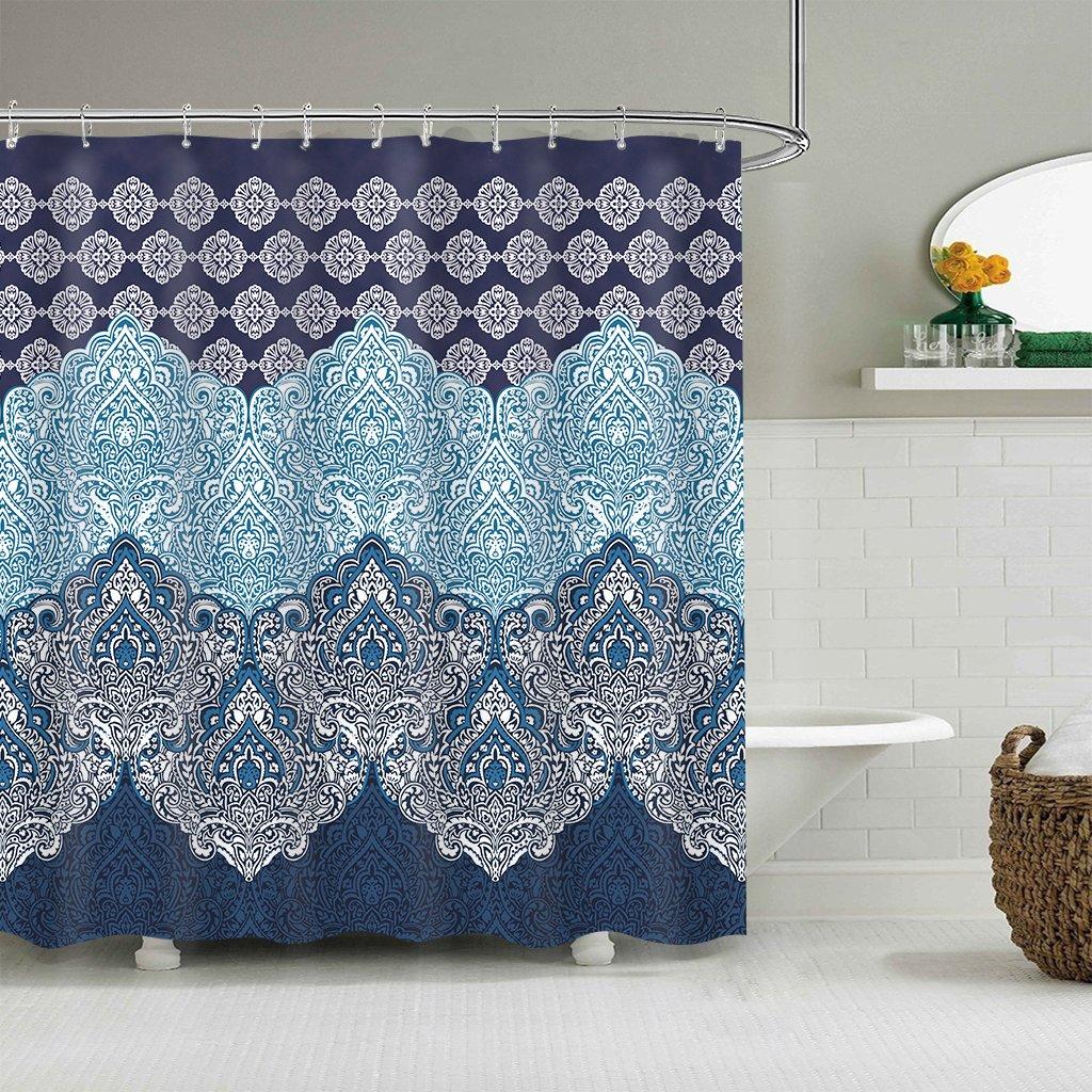 Cdcurtain Boho Paisley Shower Curtain Panel Free Metal Hooks 12-Pack Floral India Bohemia Dark Navy Shower Curtain Panel Polyester Waterproof Fabric Clawfoot Tub 72x72 Inch by Cdcurtain (Image #2)