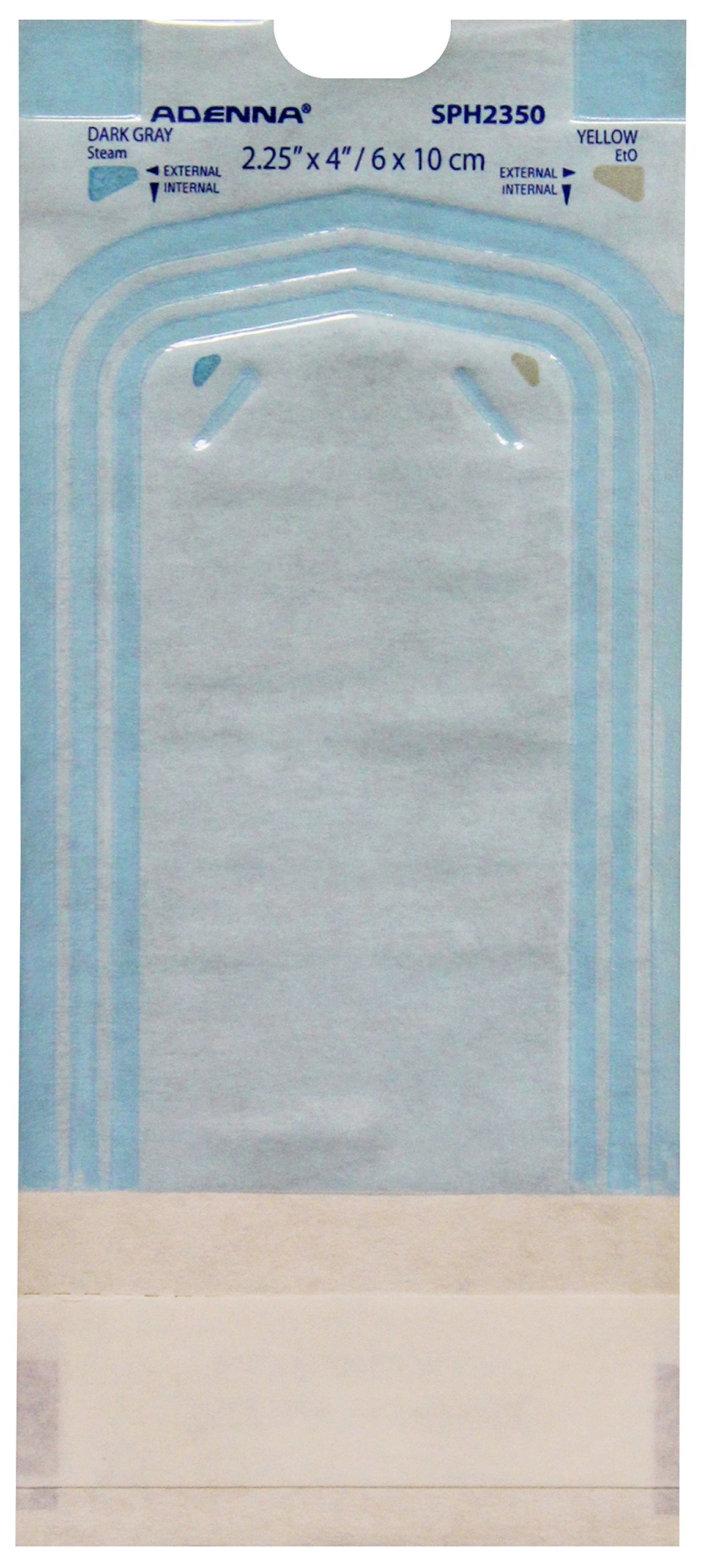 Adenna White Paper/Blue Tinted Film 2-1/4'' X 4'' Sterilization Pouch (Box of 200)