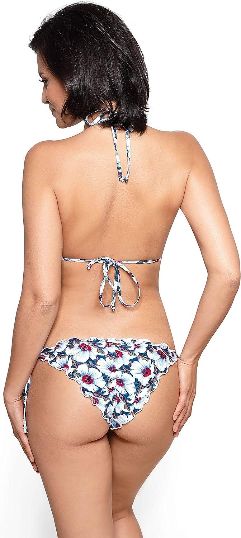 RELLECIGA Damen Bademode Triangel Bikini Set mit Unterteil im Brasilien Style Ruffle