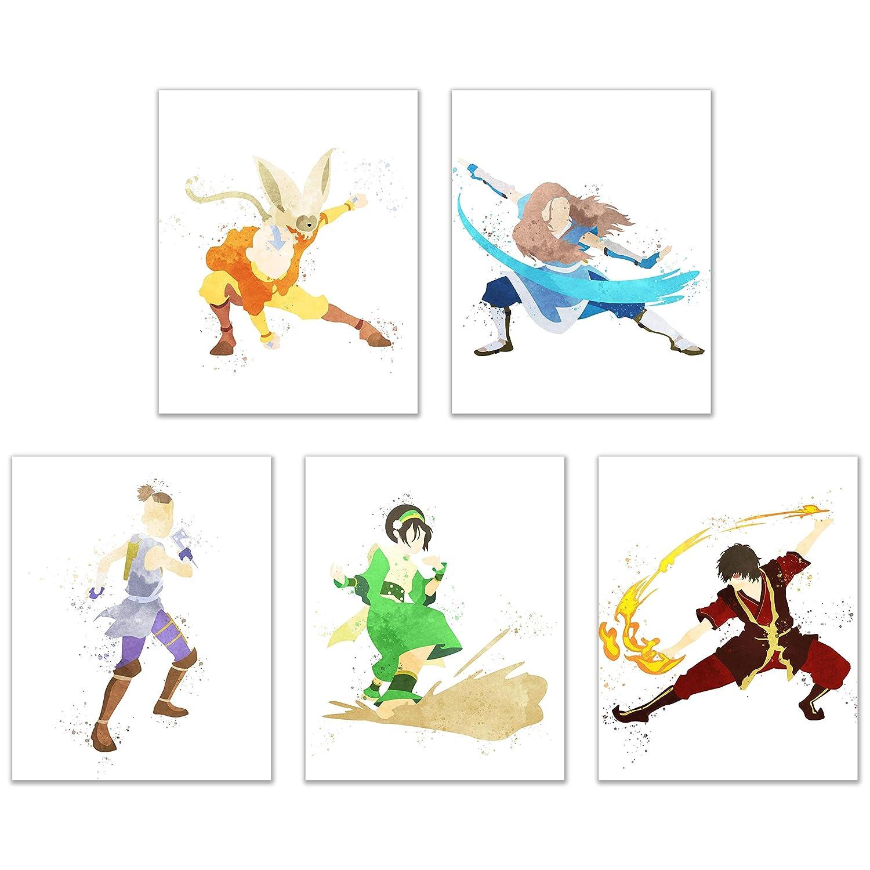 Watercolor Avatar: The Last Airbender Poster Prints - Set of 5 (8x10) Glossy Cartoon Martial Arts Water Fire Air Earth Nation Wall Art Decor - Aang - Katara - Sokka - Toph - Zuko