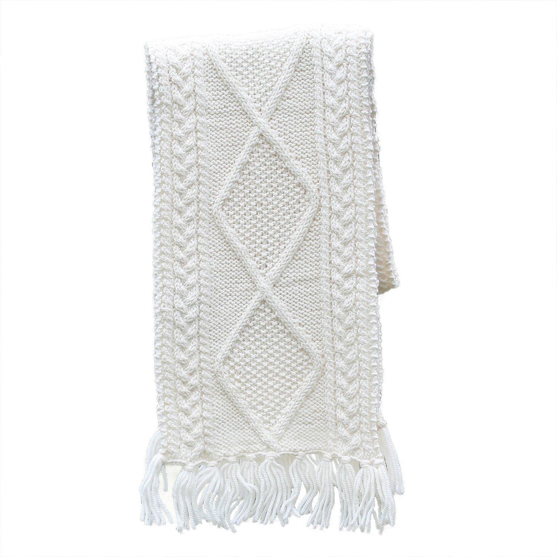 Aran Woollen Mills 100/% Irish Merino Wool Handknitted Scarf by Carraig Donn Natural
