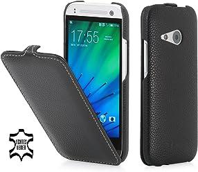StilGut UltraSlim Case, custodia in vera pelle per HTC One mini 2, nero