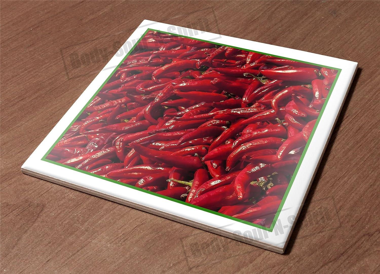 Kitchen Trivet Holder Ceramic Tile HotPlate paprika redpapper spice cook gift