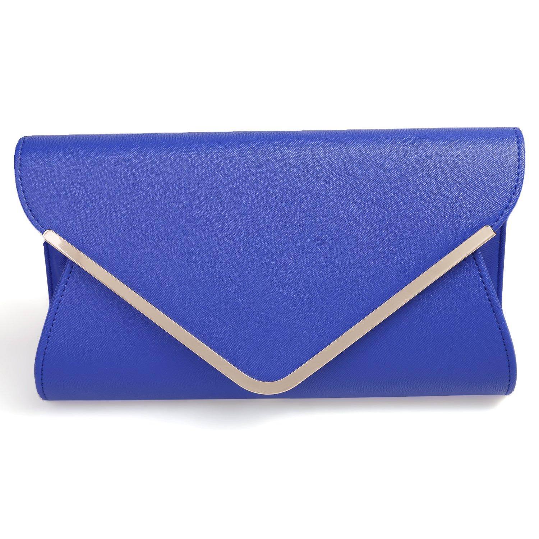 Womens Faux Leather Envelope Clutch Bag Evening Handbag Shouder Bag Wristlet Purse With Chain Strap.(blue)