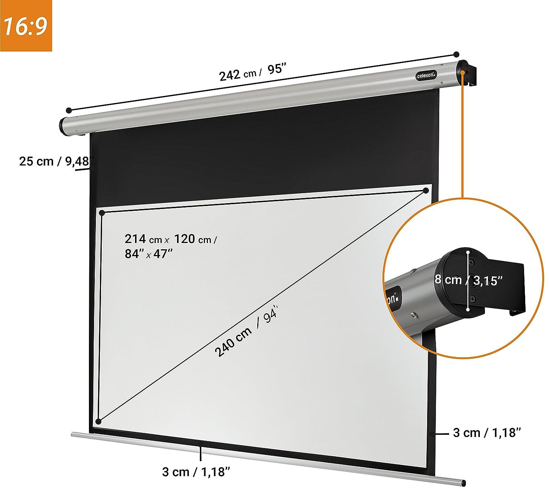180 x 180 cm Gain 1,2 celexon motorisierte Beamer-Leinwand Wand-oder Deckenmontage Motor HomeCinema 1:1