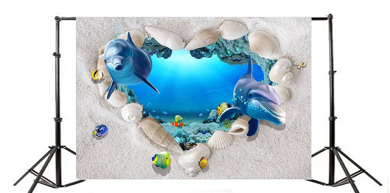YongFoto 2x1,5m Fotografía Fondo 3D Acuario Submarino Mundo Concha corazón Forma Marco artístico Paisaje Fondos para fotografía Fotos Fiesta Adultos Niños ...