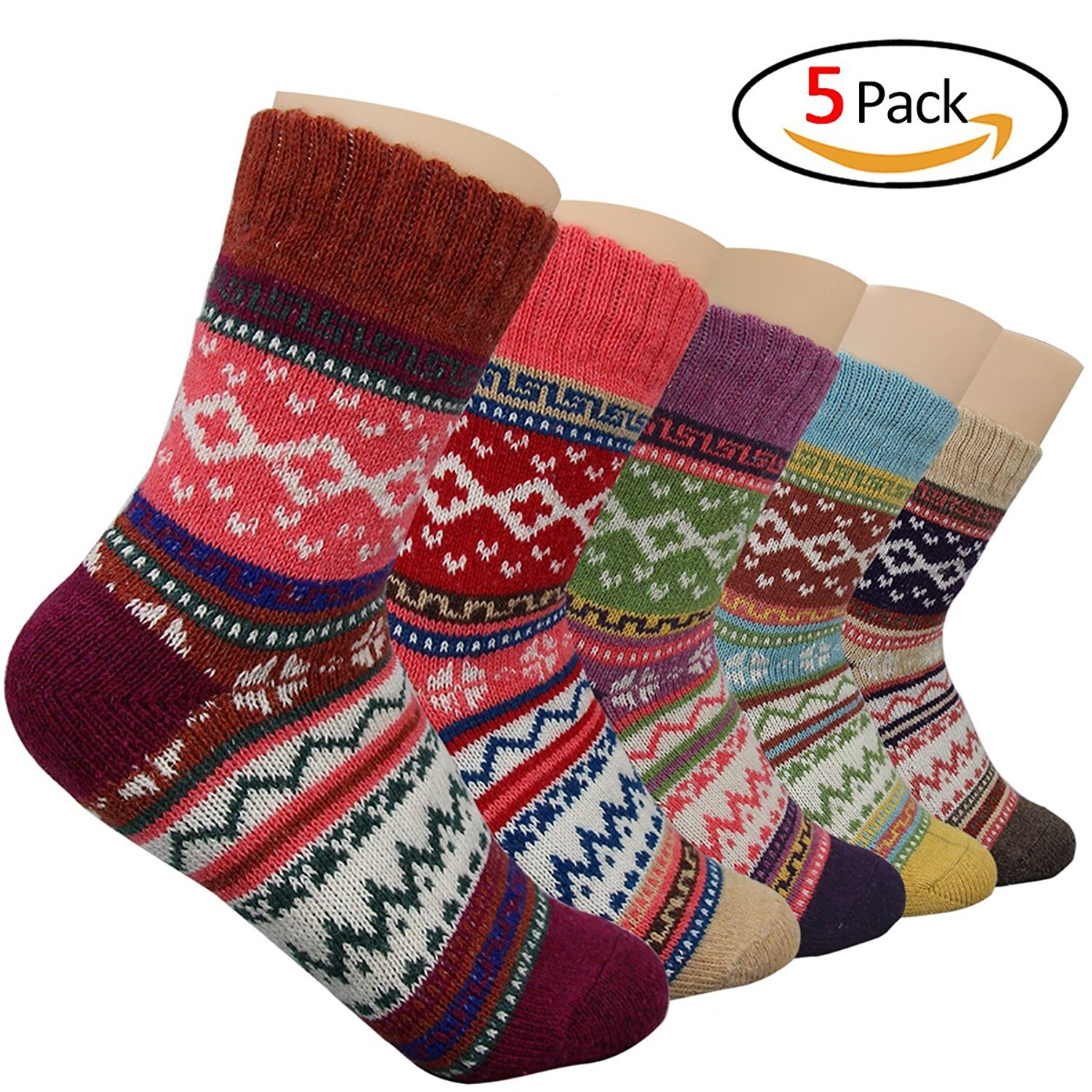 Aszune 5 Pairs Women Wool Knit...