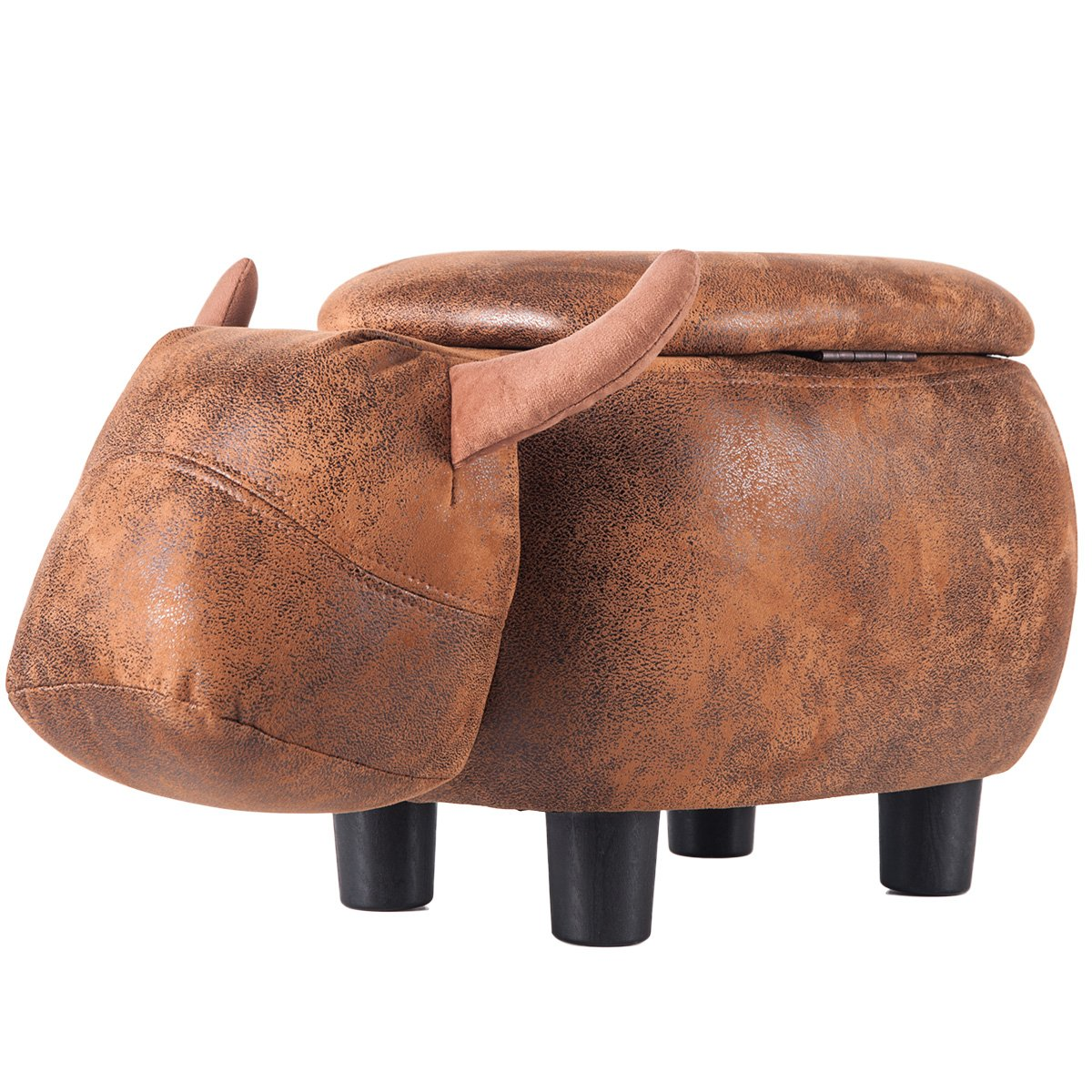Merax Have-Fun Series Upholstered Ride-on Storage Ottoman Footrest Stool with Vivid Adorable Animal Shape (Brown Buffalo)