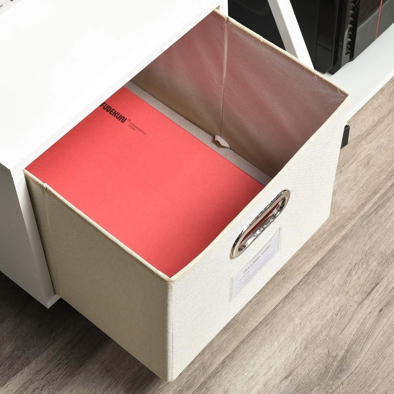 Vinsetto Cajonera M/óvil con Caja de Almacenaje de Tela Plegable C/ómoda de 1 Caj/ón para Archivos de Tama/ño Convencional Oficina Estudio 36x40x35 cm Blanco