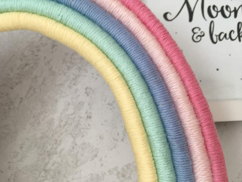 Makramee Regenbogen in pastell Farben f/ür Babyzimmer Deko Wandbehang Babyparty Babyshower