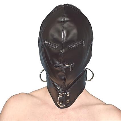 MÁSCARA DEL CUERO ARTIFICIAL con cremalleras* capucha negra con lazos & anillo de D (