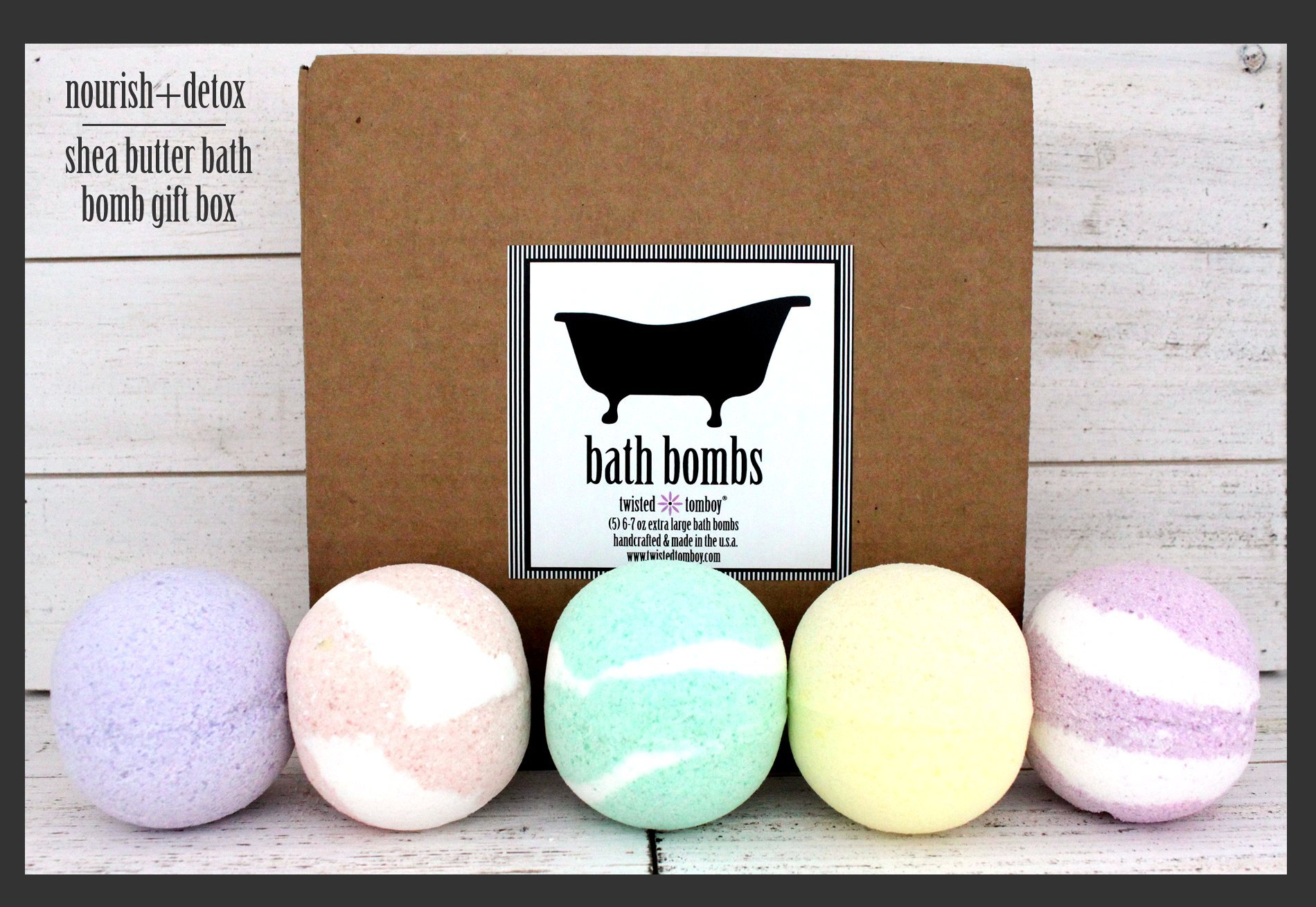 Extra Large Shea Butter Bath Bomb 5-Pack Gift Set (Packed With Lush, Nourishing, Natural, Moisturizing and Detoxing Ingredients - Contains (5) Giant 6-7 oz Fizzy Bombs) HANDMADE IN USA