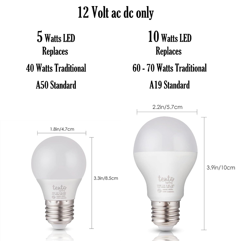 12v Edison LED Light Bulbs White Light Color 12 Volt E26 E27 Base Edison Base Marine RV Light Bulbs Off-Grid Lighting Solar Powered 12 v LED Bulbs (5w LED ...
