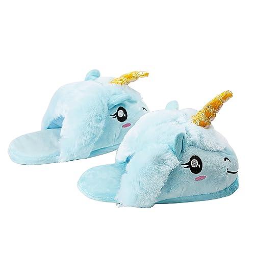PALMFOX Unicornio Felpa Suave Calentar Zapatillas de Felpa Unicornio Zapatos: Amazon.es: Zapatos y complementos