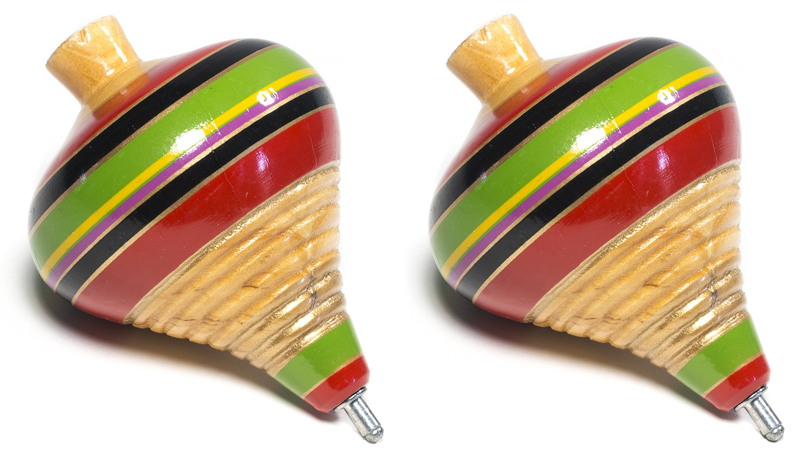 (2 Pack) MexIcan Classic Wooden Spininng Trompo / Trompo de Madera Mexicano - The Best Quality