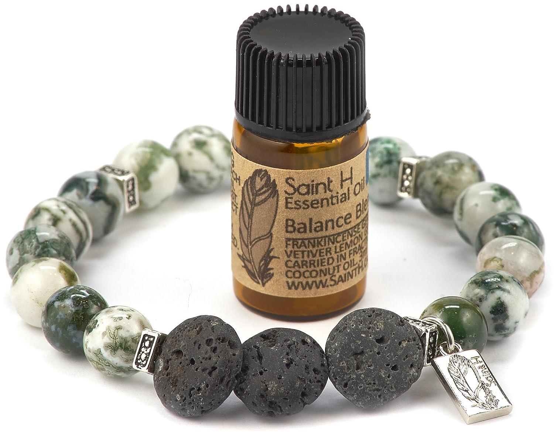 SaintH Tree Agate Lava Stone Diffuser Bracelet includes Essential Oil Sample Saint H TreeAgateBB-S