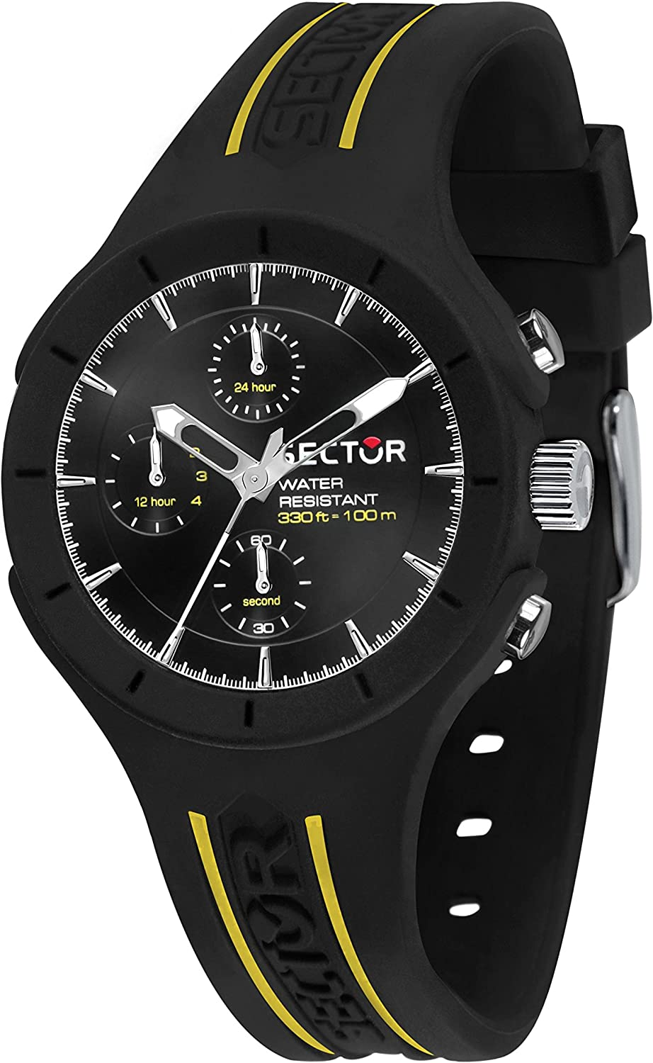 Sector No Limits Men's Speed Analog-Quartz Sport Watch with Silicone Strap, Black, 18 (Model: R3251514004)