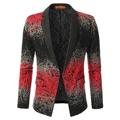 iDarbi Slim Fit Swirl Pattern Cotton Blazer Jacket