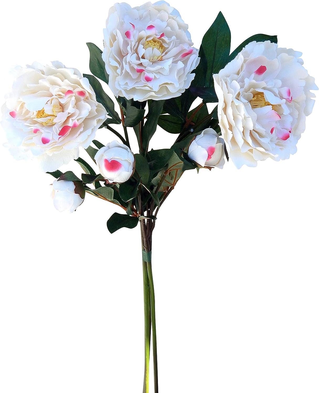 Pack x12 Stems Artificial Silk Flowers Peony Spray Cream