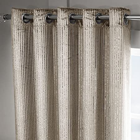 Tonys Textiles Velvet Sparkle Glitter Stripe Fully Lined Ring Top Curtains