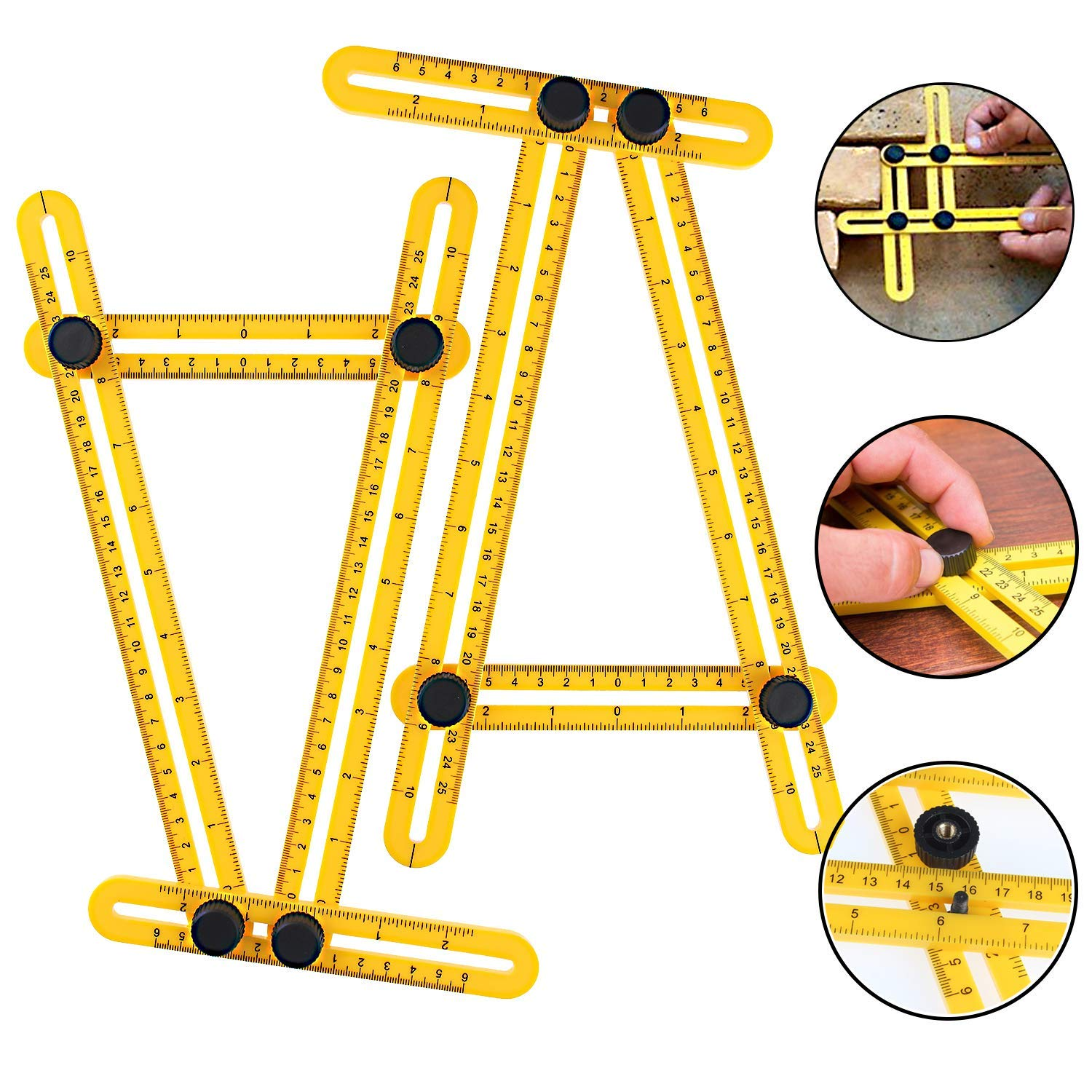 Construction Workers XGCMY Multi-Angle Measuring Ruler Four-Fold Ruler Adjustable for All Angles Shapes Ideal Yellow Measuring Tool Laser Etched Markings for Woodworking Crafters Carpenters or Engi