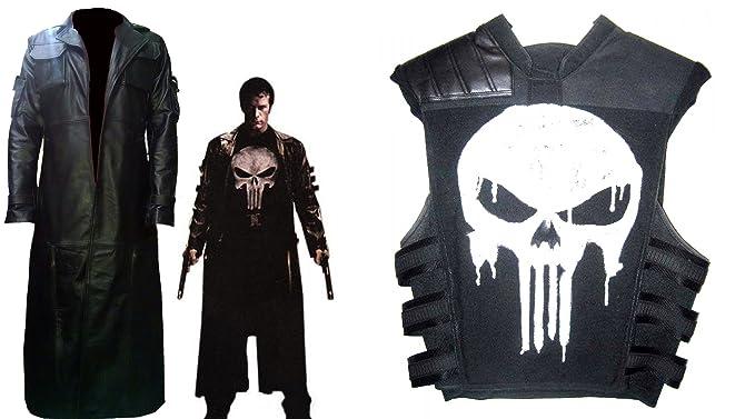 39fecf21ae48b Amazon.com  Deal The Punisher Frank Castle Jane Leather Trench Coat Vest  Costume Jacket  Clothing