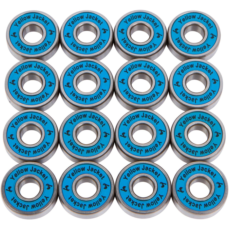 Yellow Jacket Premium Inline Skate Bearings, Roller Skate Bearings, 608, ABEC 9, Bomber Blue (Pack of 16)