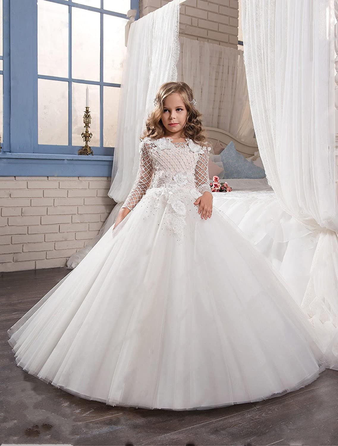 Amazon.com: Gzcdress Long Sleeves Flower Girl Dress for Wedding 2018 White Communion Dresses Tulle Floor Length 81: Clothing