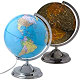 "10"" Educational World Globe for Kids with LED Light and Stand, Shows Detailed Political Map During the Day and Illuminated Constellation at Night, Power Cord Included"