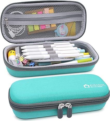 Aiscool Estuche duro para lápices de gran capacidad, caja de papelería para suministros escolares, material de oficina (verde): Amazon.es: Oficina y papelería