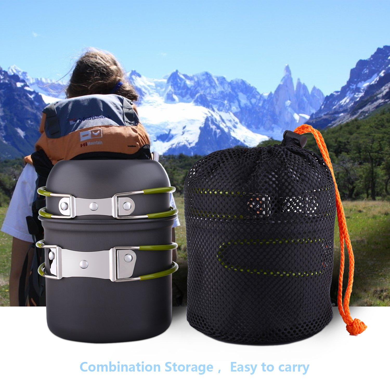 Bater/ía de Cocina para Camping 2-3 Persona de Asa Verde Set de Cocina para Acampada Bater/ía de Cocina de Acero Inoxidable al aire libre