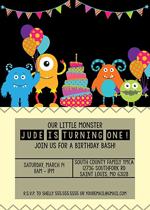 Amazon Com Customized Our Little Monster Birthday Invitation Toys