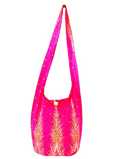 2a34faf915ad Fully Lined Sling Crossbody Bags for Women Hippie Peacock Feather Print