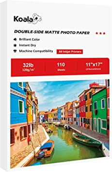 Amazon Com Koala Presentation Paper Double Sided Matte For Printing Photo 11x17 Inches 110 Sheets Compatible With Inkjet Printer Office Products