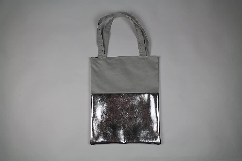 eb2cc0db03178 Shopper-Bag Stofftasche Grau Silber Metallic  Amazon.de  Handmade