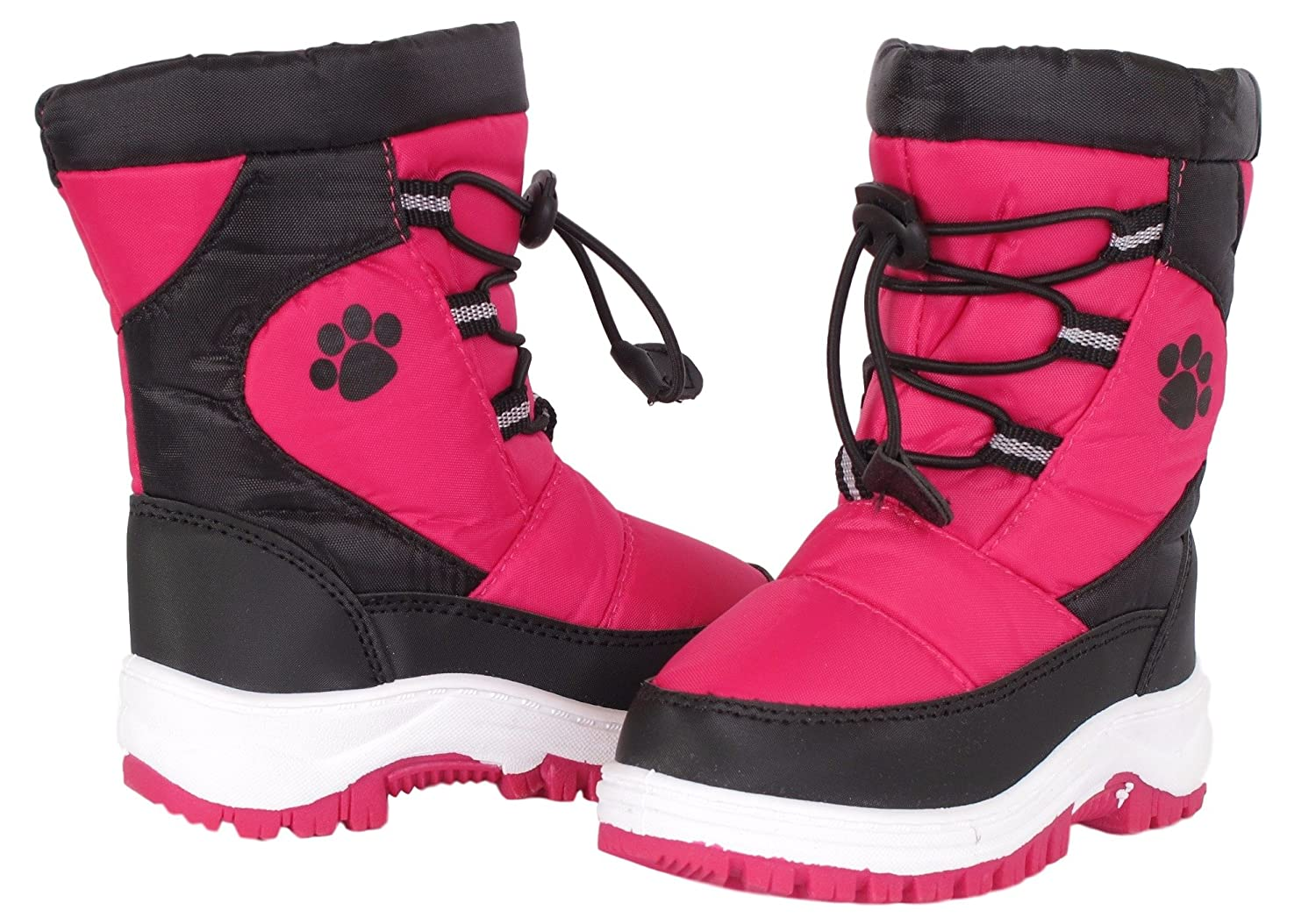 Kids Rugged Bear Girls Paw Print Snow Boots