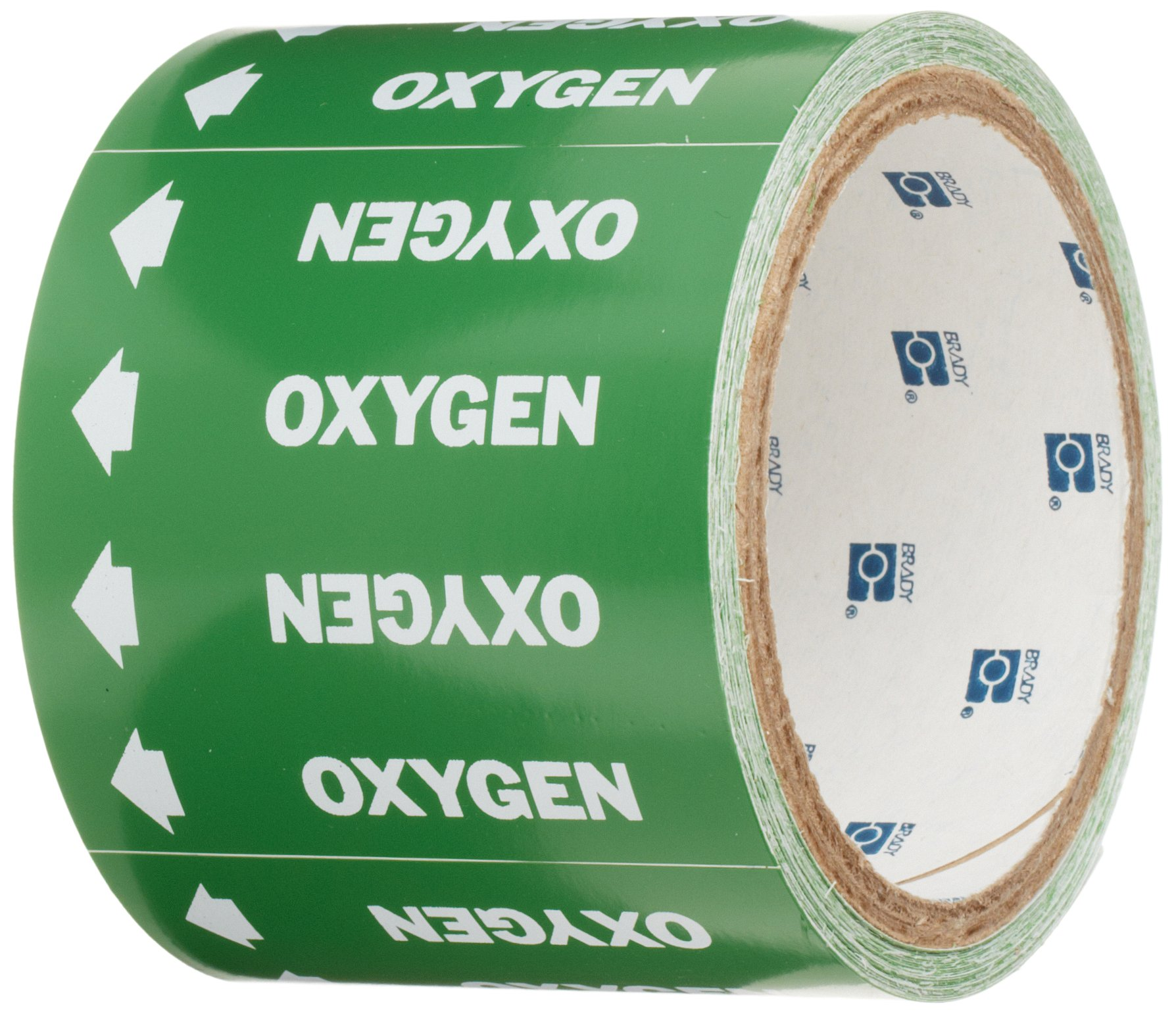 Brady 98844 Medical Gas Pipe Markers-On-A-Roll, White On Green , Legend ''Oxygen''